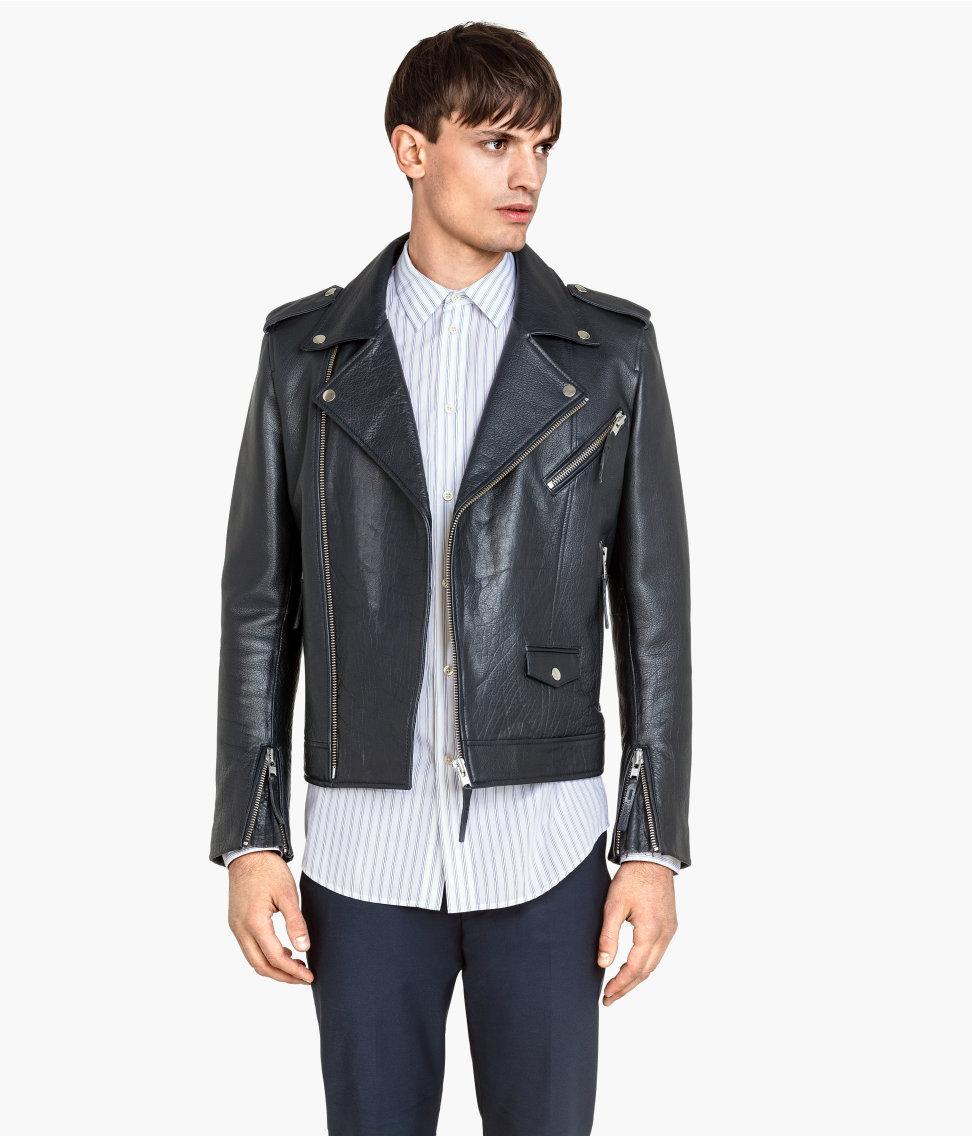 Leather Biker Jacket | Dark blue | Men | H&M US