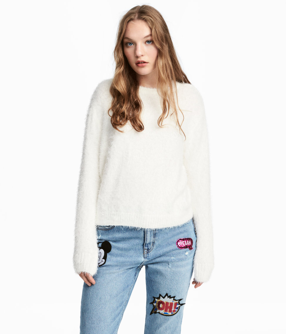 Fluffy Sweater | White | WOMEN | H&M US