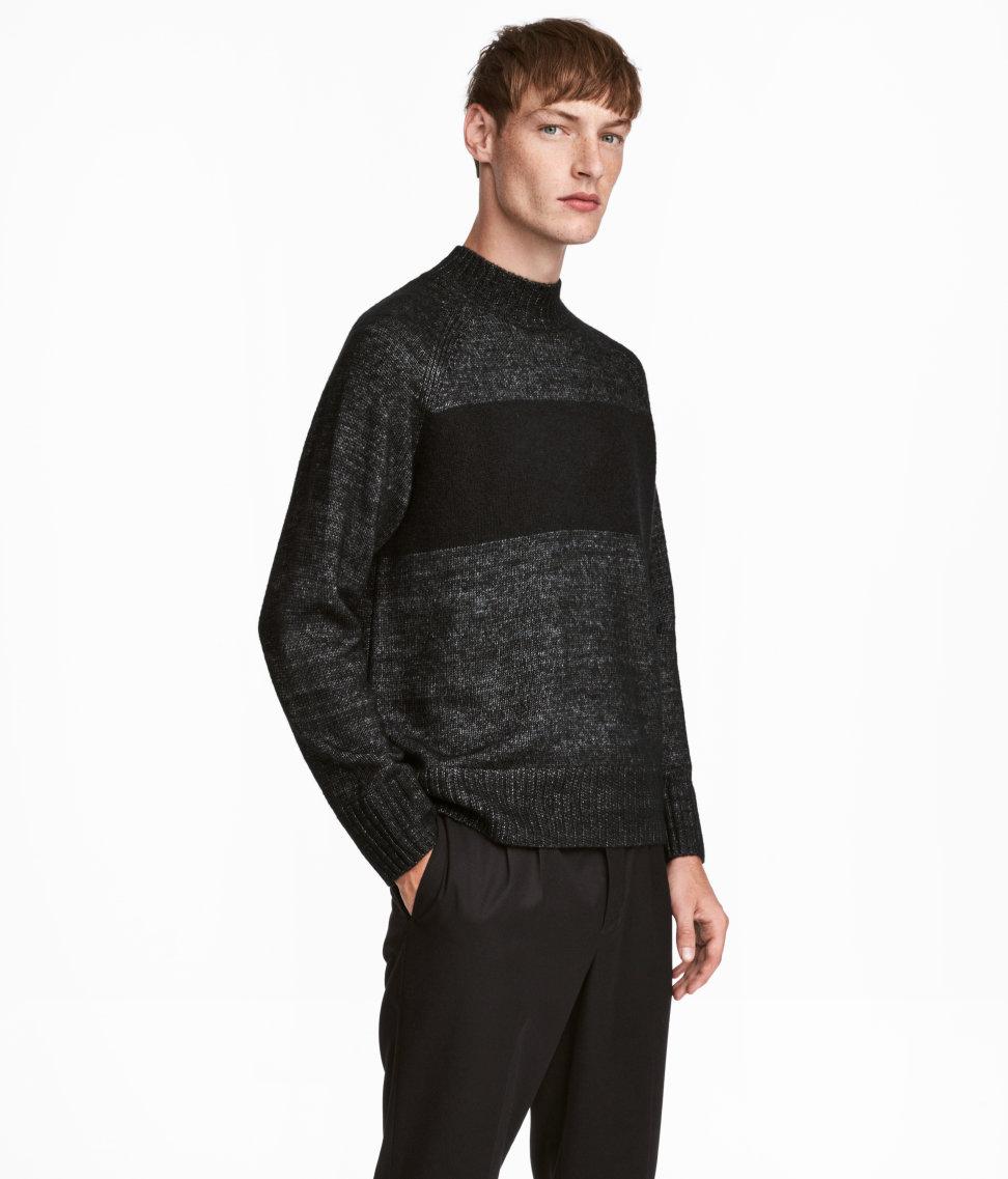 Knit Mock Turtleneck Sweater | Black/gray melange | SALE | H&M US