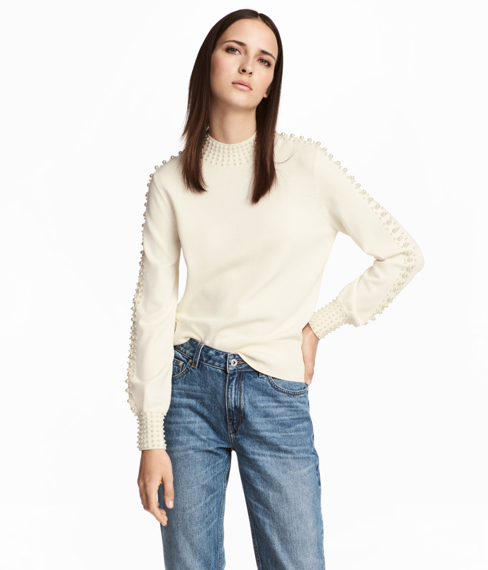 Beaded Sweater | Natural white | SALE | H&M US