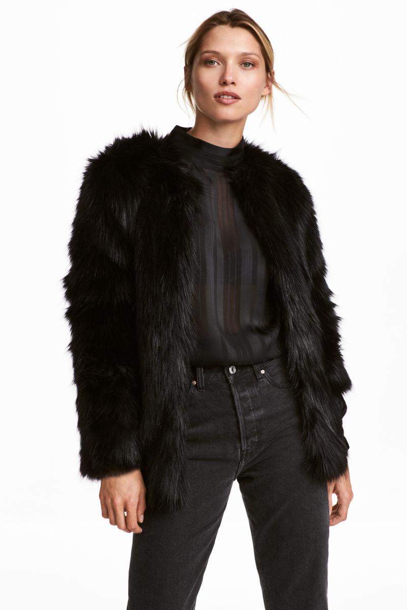 Faux Fur Jacket | Black | SALE | H&M US