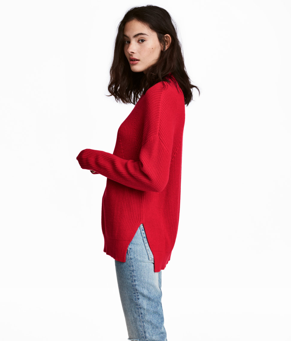 Mock-turtleneck Sweater | Red | WOMEN | H&M US
