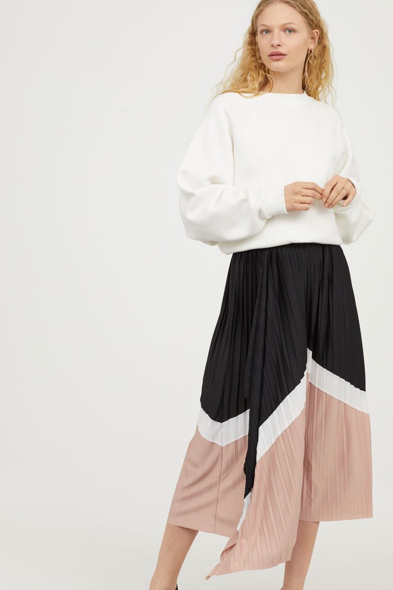 Pleated Wrap-front Skirt