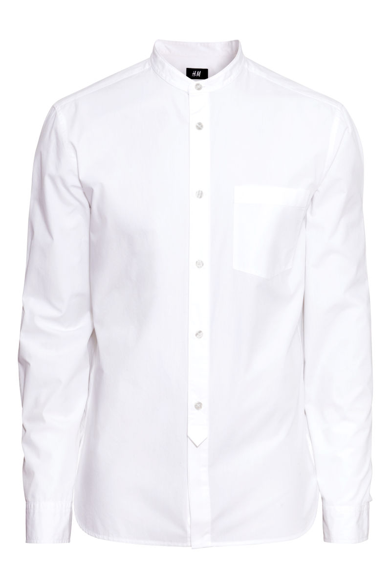 Collarless Shirt | White | SALE | H&M US