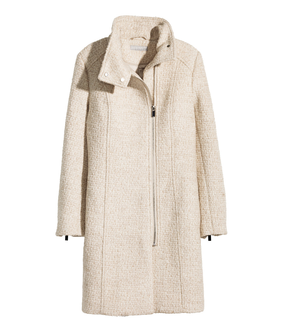 Wool-blend Bouclé Coat | Light beige melange | Women | H&M US