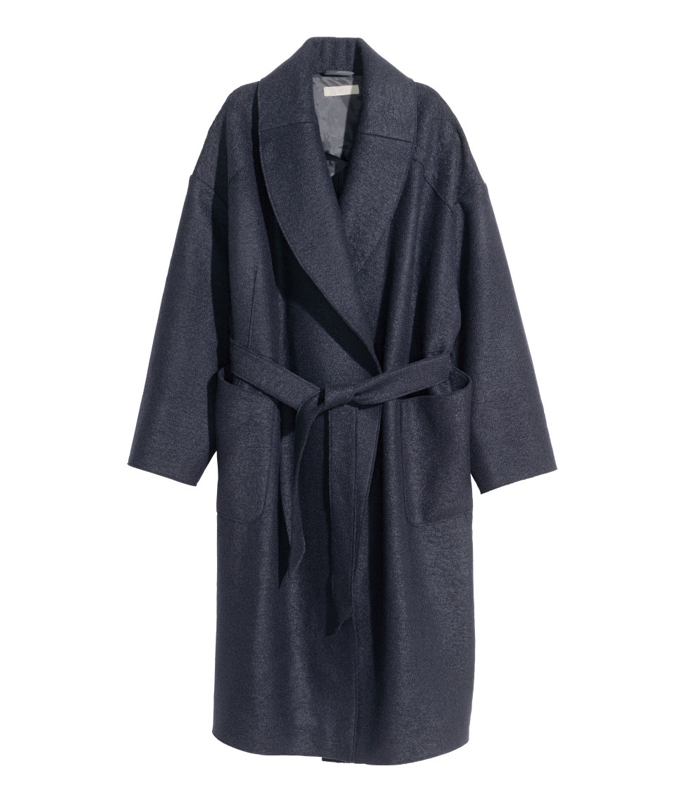 Wool Bouclé Coat | Dark blue | Women | H&M US