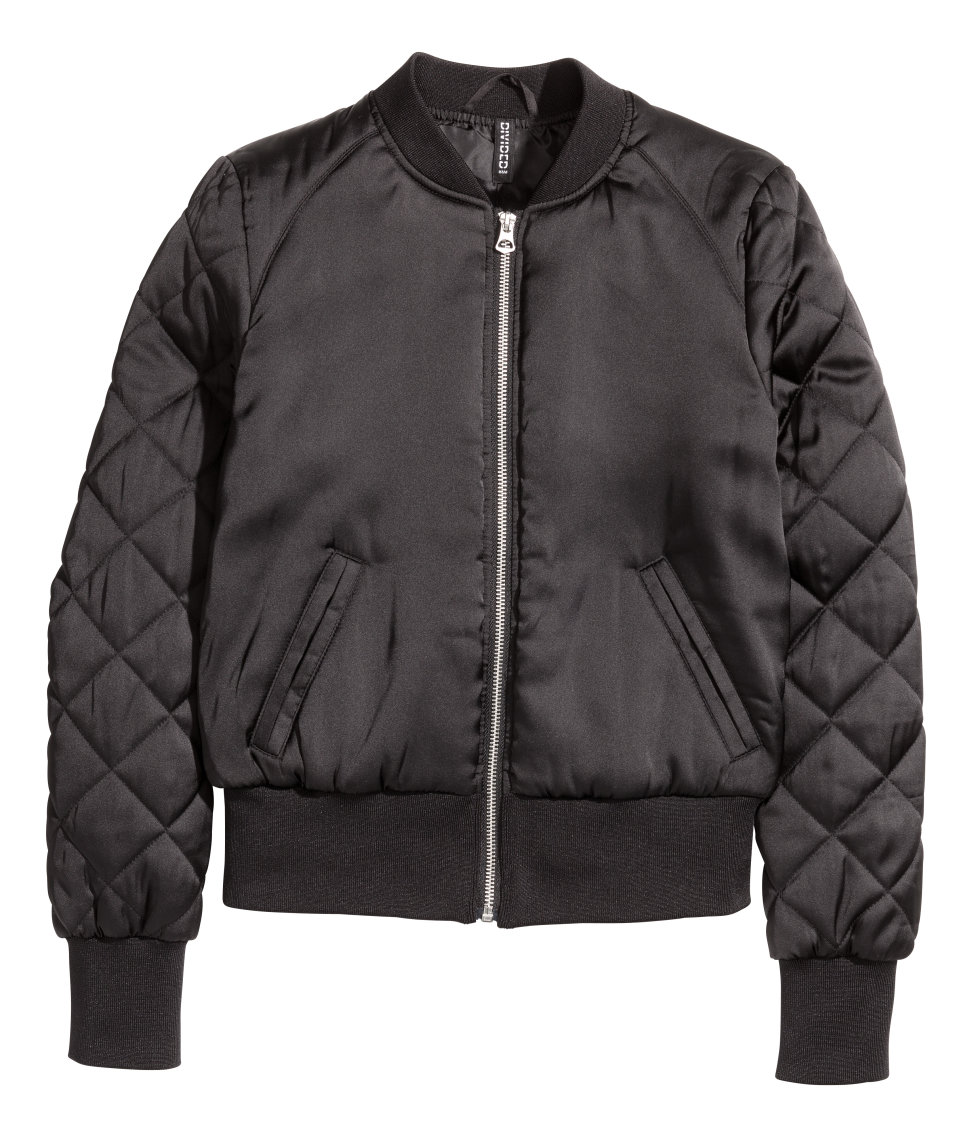 Short Satin Bomber Jacket | Black | Women | H&M US