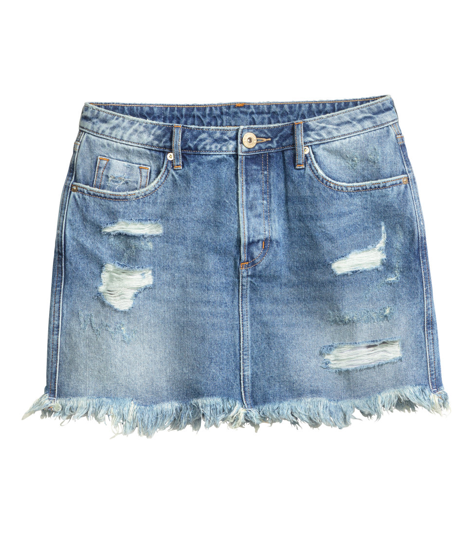 Distressed Denim Skirt | Denim blue | Women | H&M US