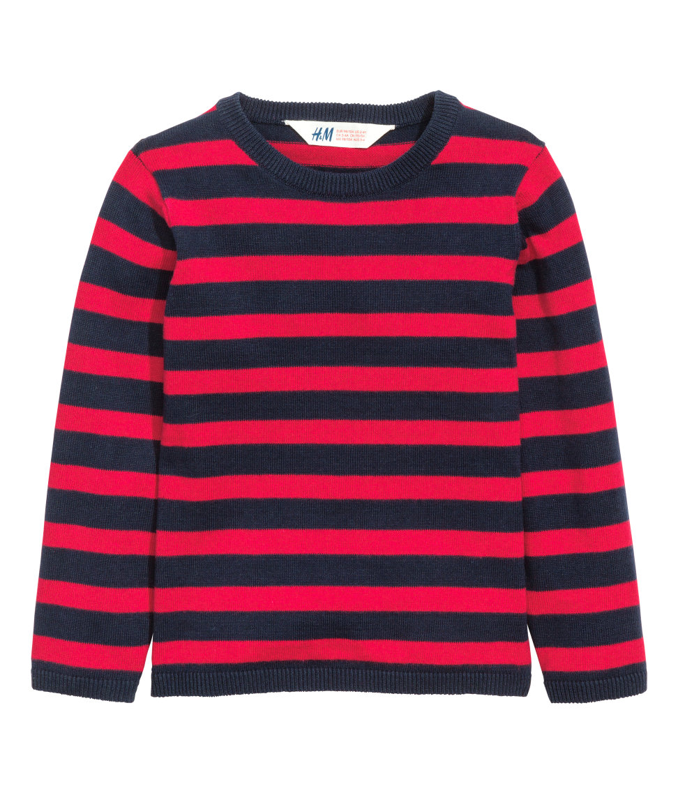 H&M - Cotton Sweater - Red/striped - Kids