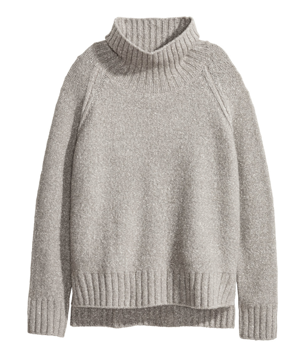Knit Turtleneck Sweater | Gray melange | SALE | H&M US