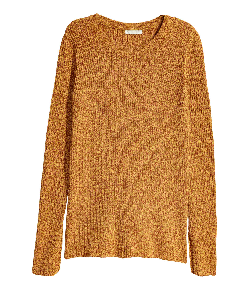 Ribbed Sweater | Yellow melange | SALE | H&M US