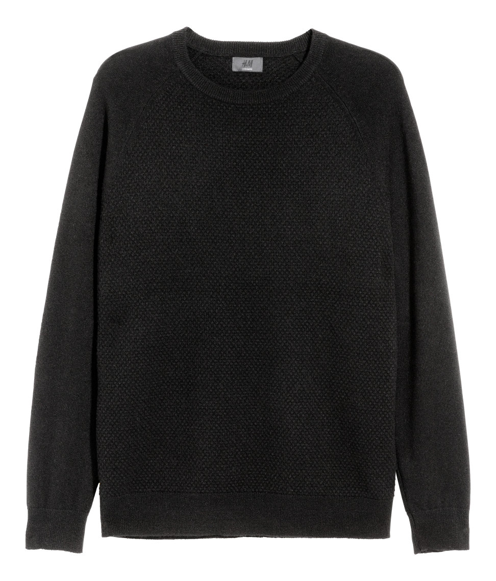 H&M - Textured-knit Cashmere Sweater - Black - Men