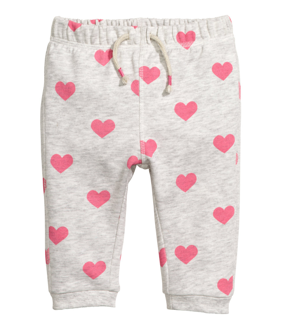 H&M - Sweatpants with Printed Design - Light grey/hearts - Kids