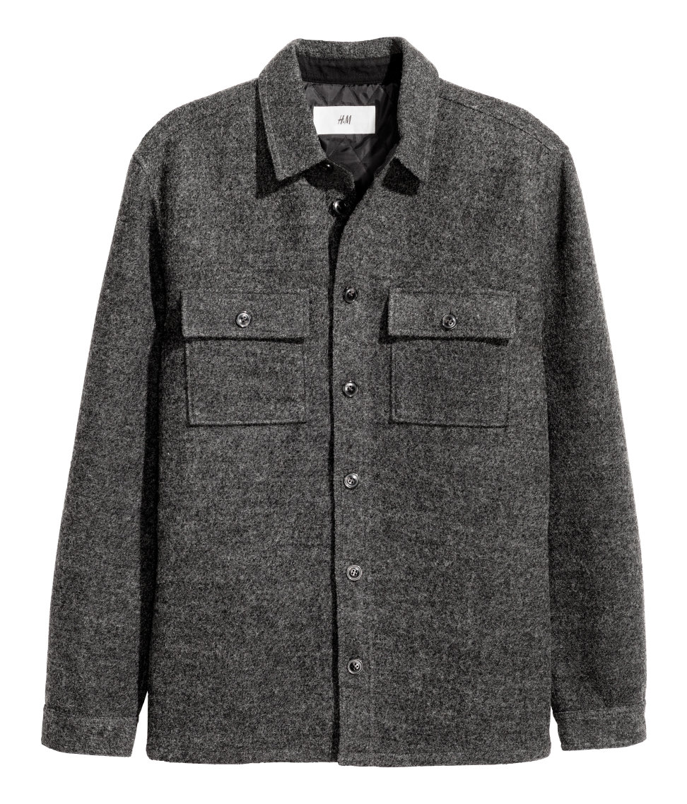 Wool-blend Shirt Jacket | Dark gray | SALE | H&M US