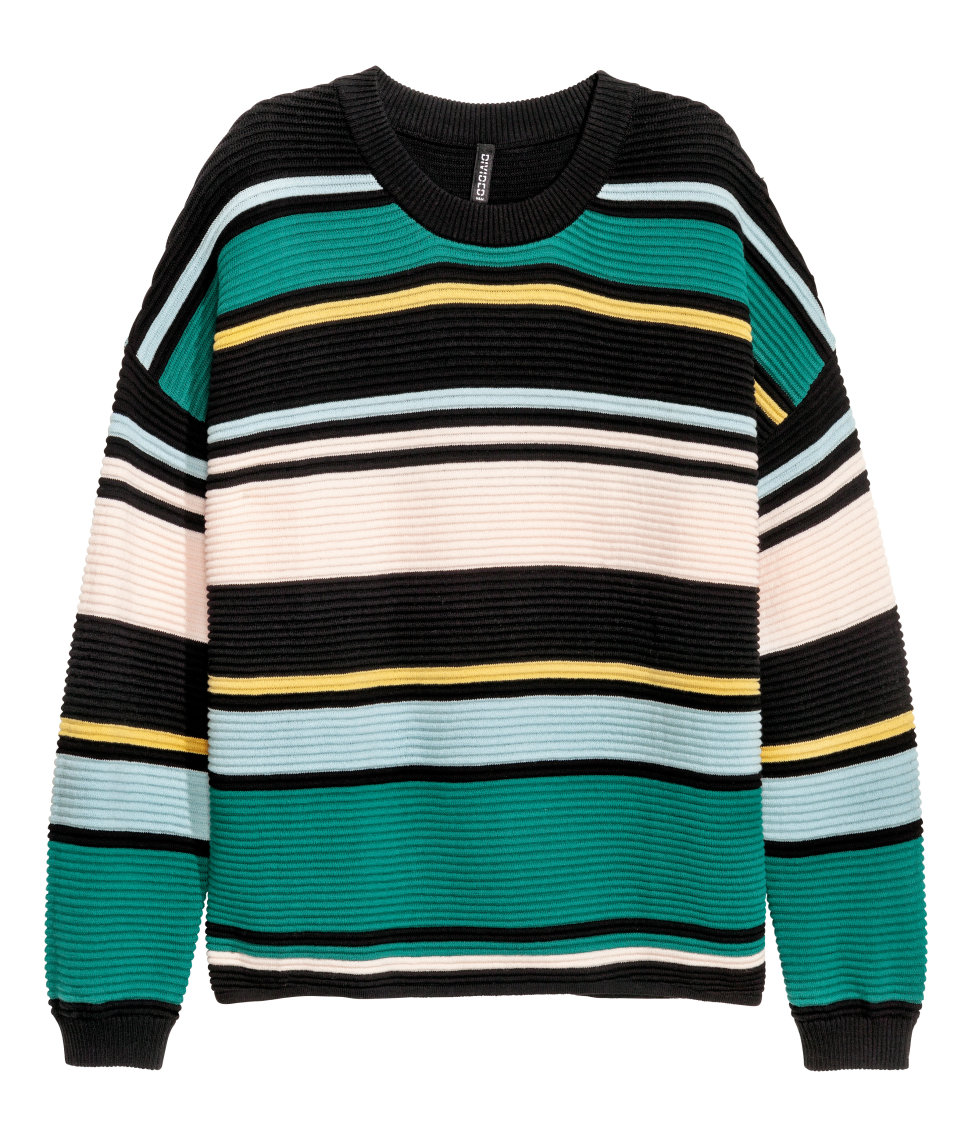 H&M - Textured-knit Sweater - Green/striped - Ladies