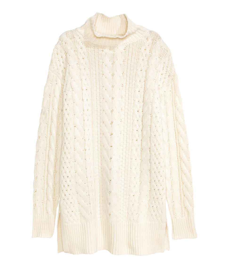 Cable-knit Turtleneck Sweater | Natural white | SALE | H&M US