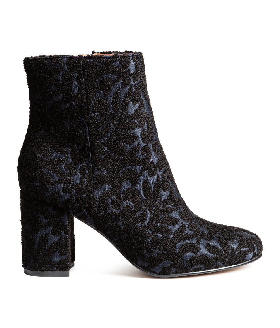 H&M - Embroidered Boots - Black/dark blue - Ladies