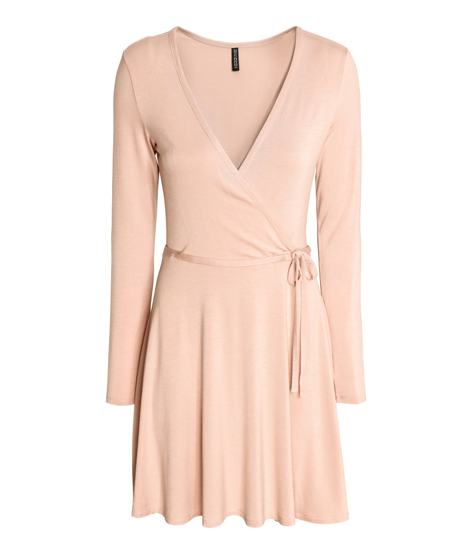 H&M - Wrap-front Dress - Light beige - Ladies