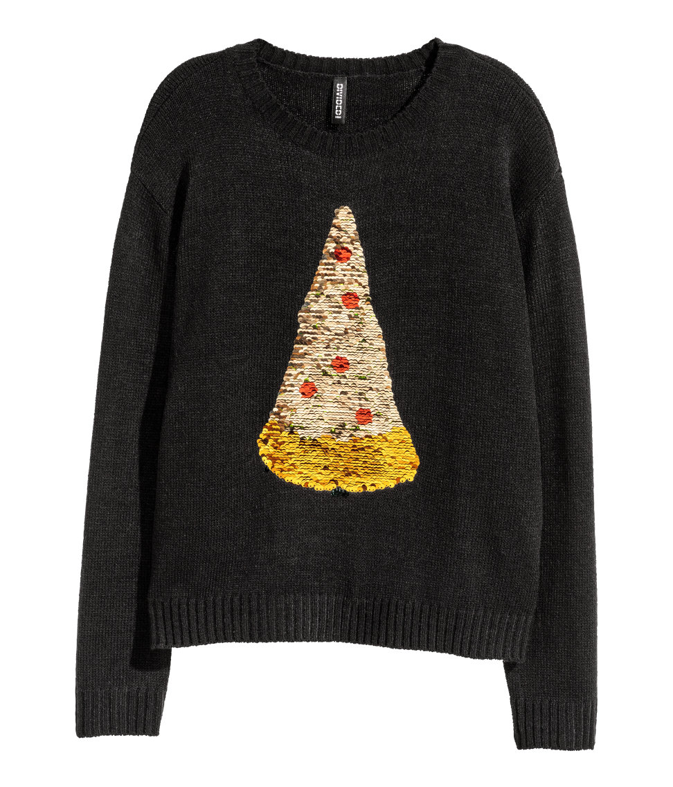 Christmas Sweater with Sequins | Black/pizza | SALE | H&M US