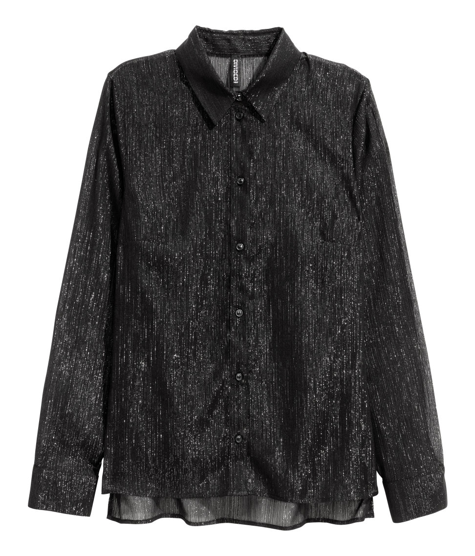 H&M - Long-sleeved Blouse - Black/glittery - Ladies