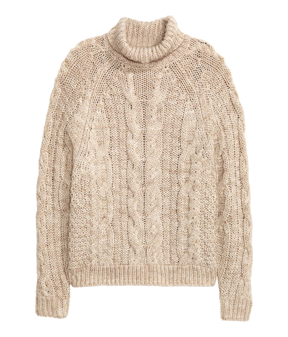 Cable-knit Turtleneck Sweater | Light beige melange | SALE | H&M US