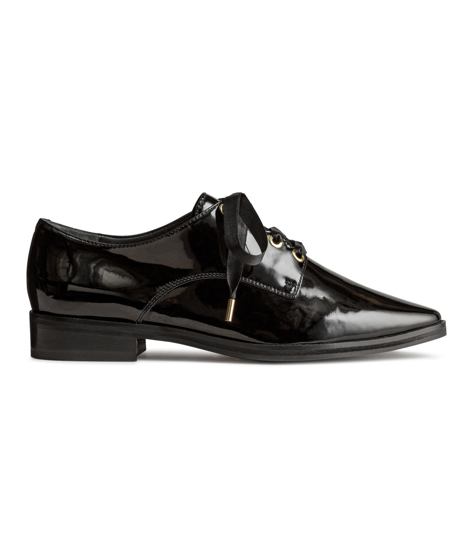 H&M - Patent Leather Oxford Shoes - Black - Ladies