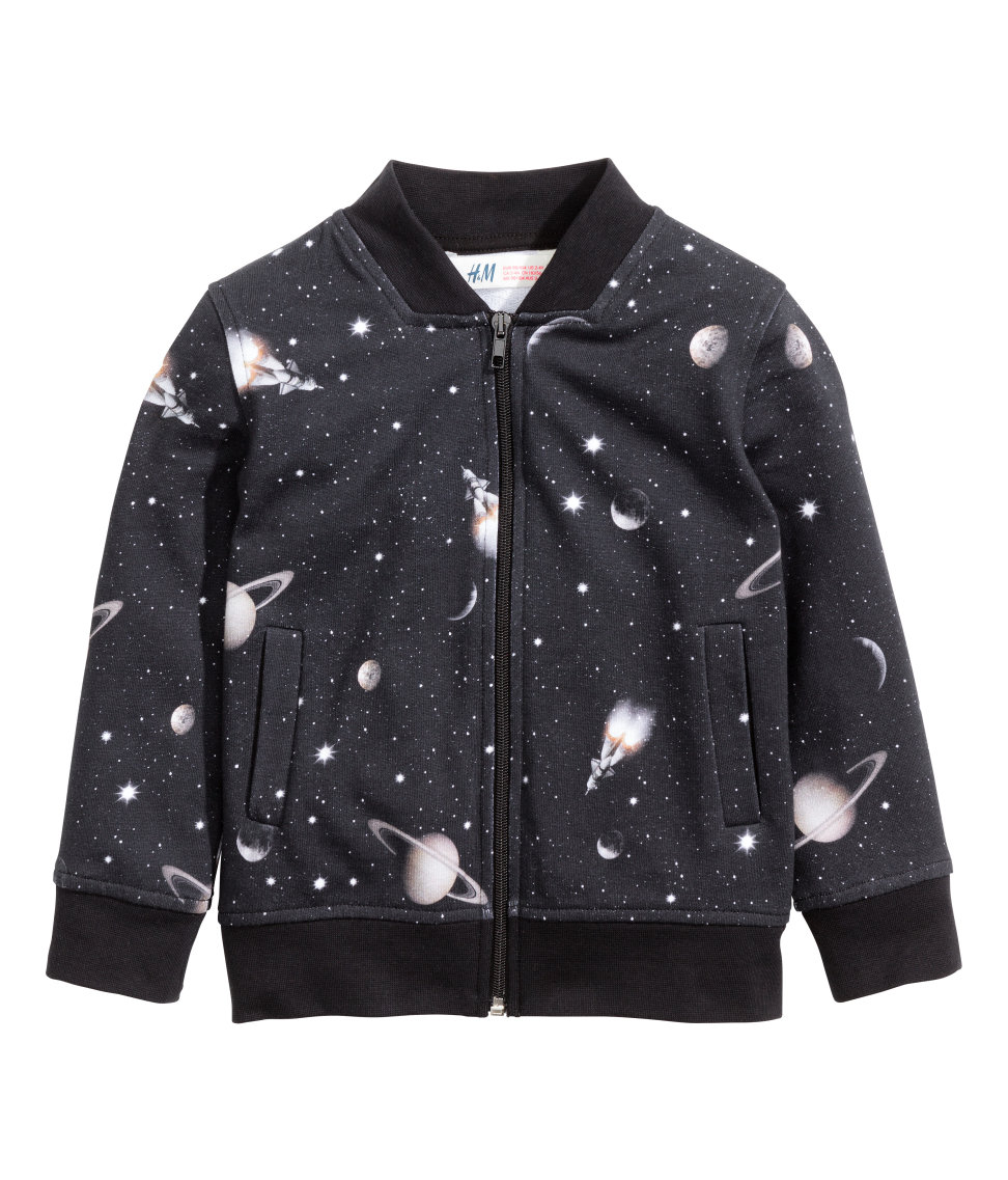 H&M - Sweatshirt Jacket - Black/space - Kids