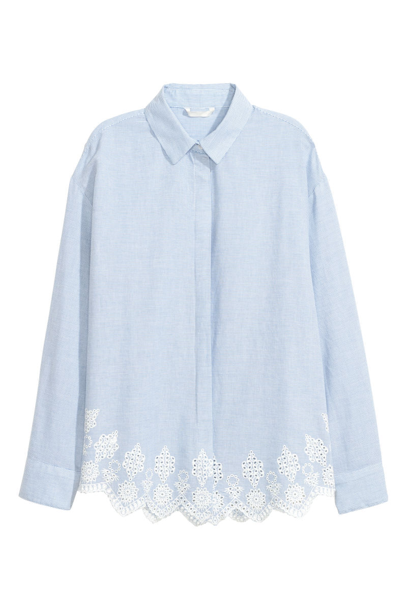 Shirt with Eyelet Embroidery | Light blue/white striped | WOMEN ...