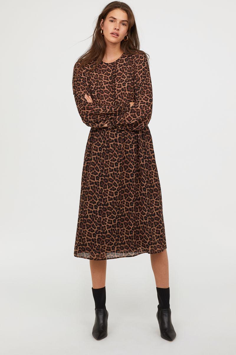 Gesmoktes Kleid | Braun/Leopardenmuster | SALE | H&M DE
