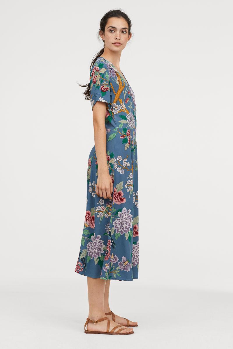 Gemustertes Kleid Blau Geblumt Sale H M De