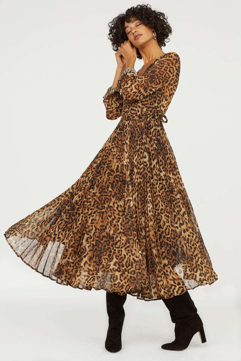 Plissiertes Kleid Braun Leopardenmuster Sale H M De