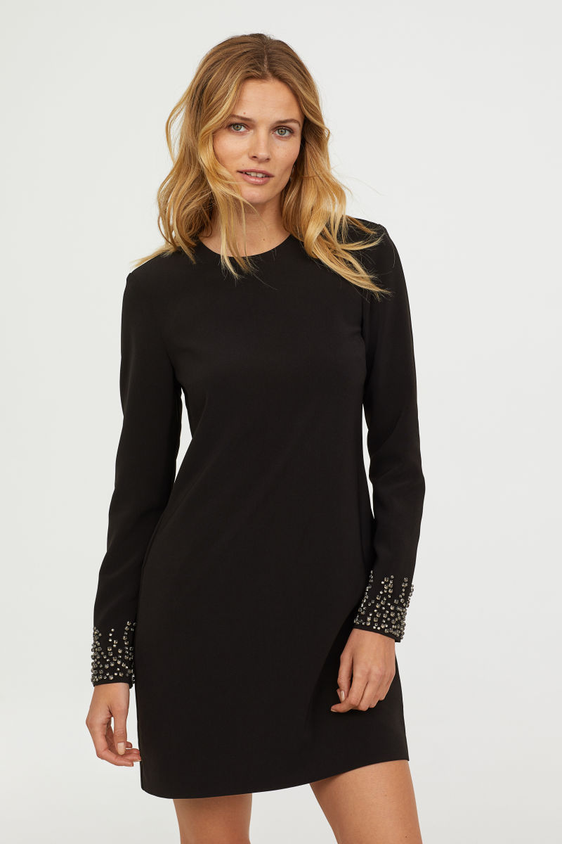 Kleid Mit Strasssteinen Schwarz Sale H M De