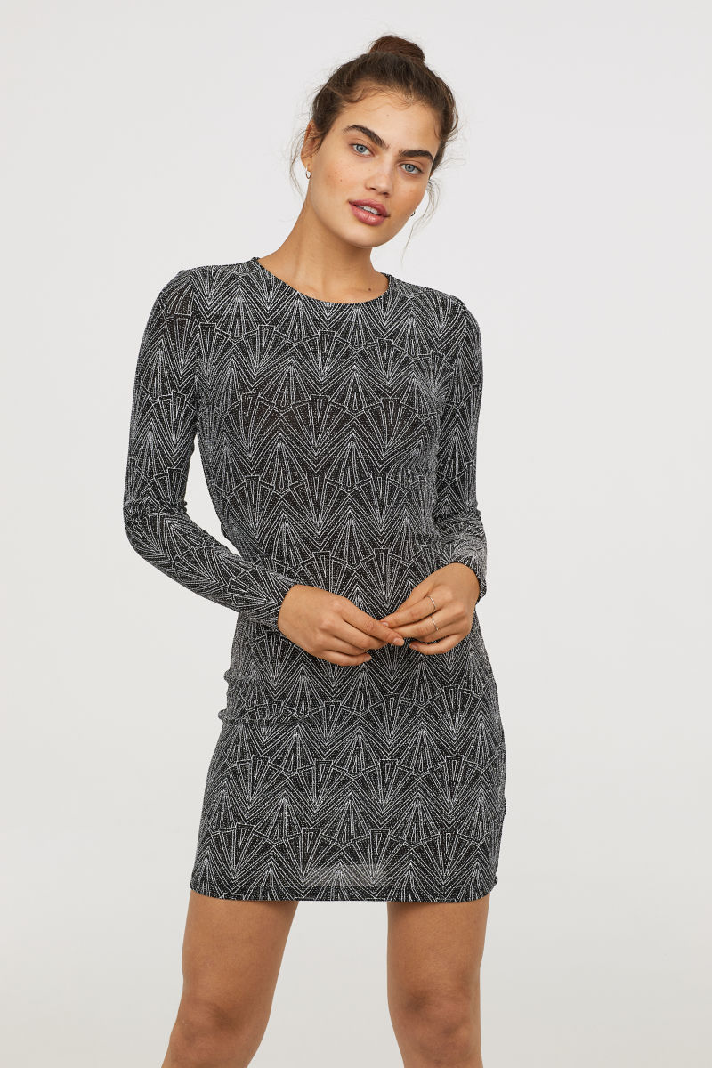 Glitzerndes Kleid Schwarz Silberfarben Sale H M De