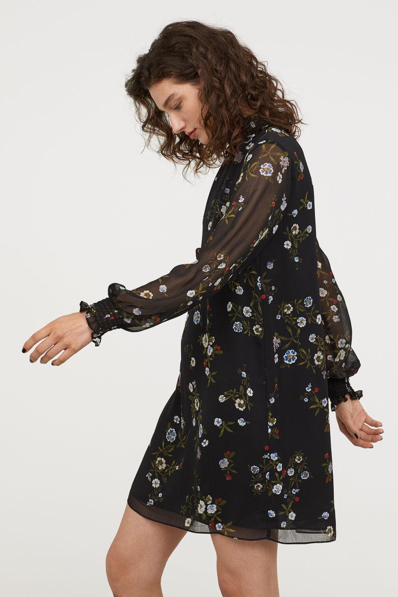 Gesmoktes Kleid | Schwarz/Gemustert | SALE | H&M DE