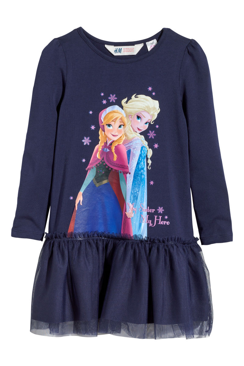 Kleid mit Tüllrock | Dunkelblau/Frozen | SALE | H&M DE