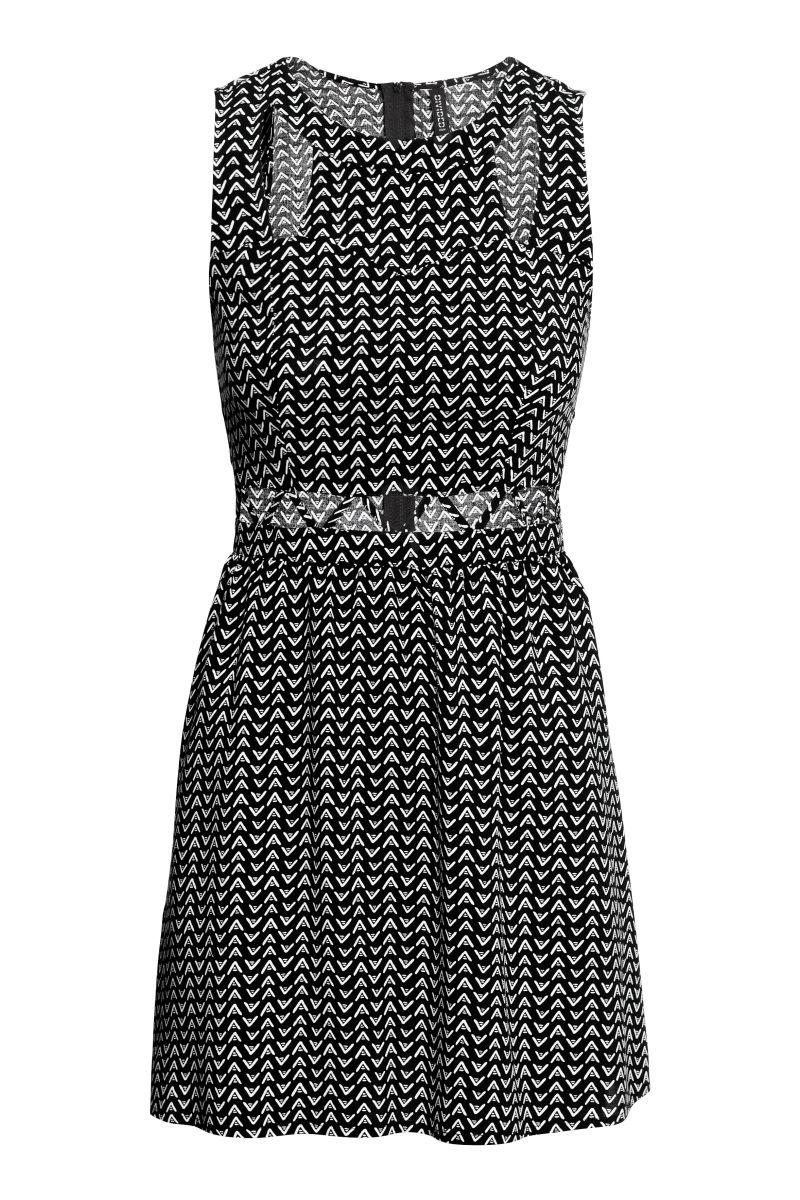 Kleid mit Cut-out | Schwarz/Weiß | SALE | H&M DE