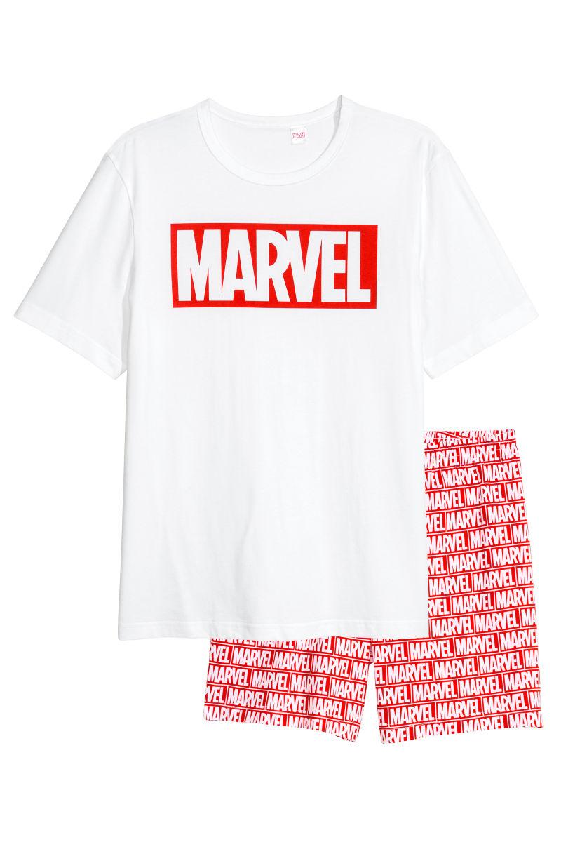 Schlaf-T-Shirt und Shorts | Weiß/Marvel Comics | SALE | H&M DE