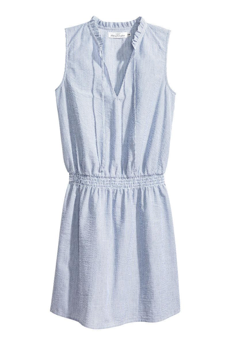 Kleid aus Seersucker | Blau/Weiß gestreift | SALE | H&M DE