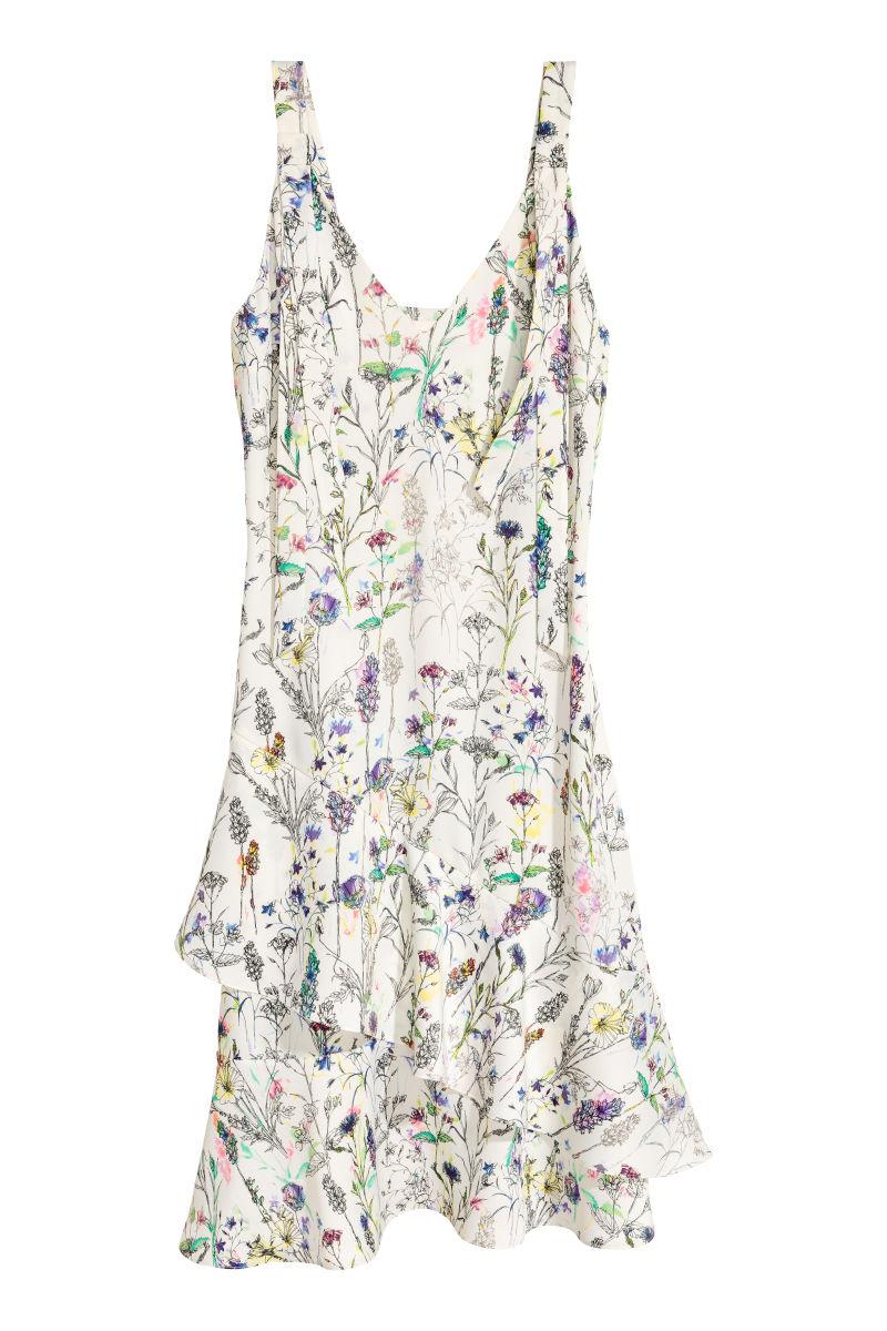 Gekrepptes Kleid Naturweiss Geblumt Sale H M De