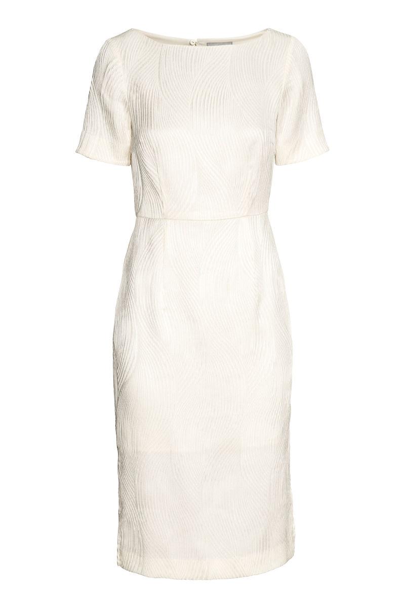Kleid Aus Jacquardstoff Naturweiss Sale H M De