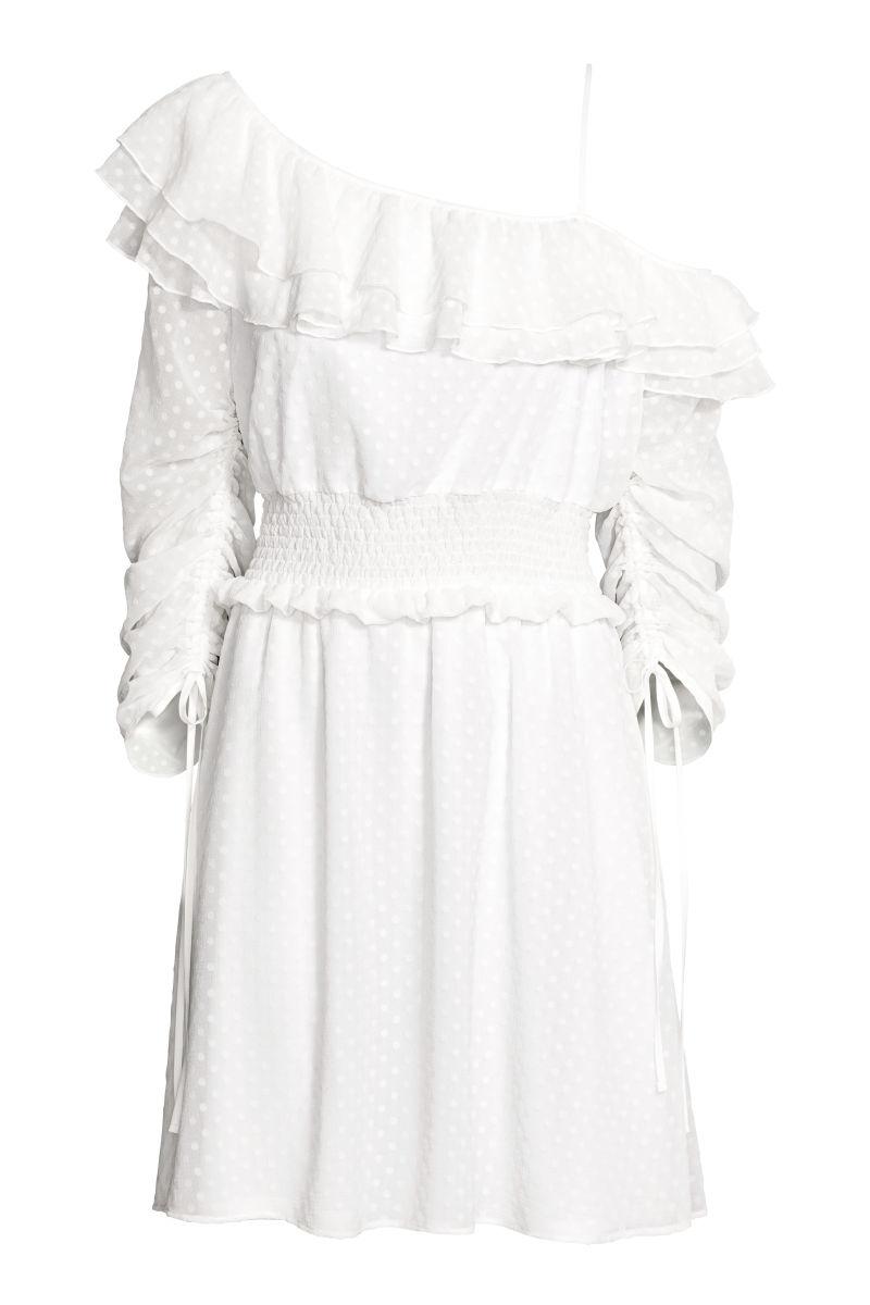 One-Shoulder-Kleid | Weiß/Gepunktet | SALE | H&M DE