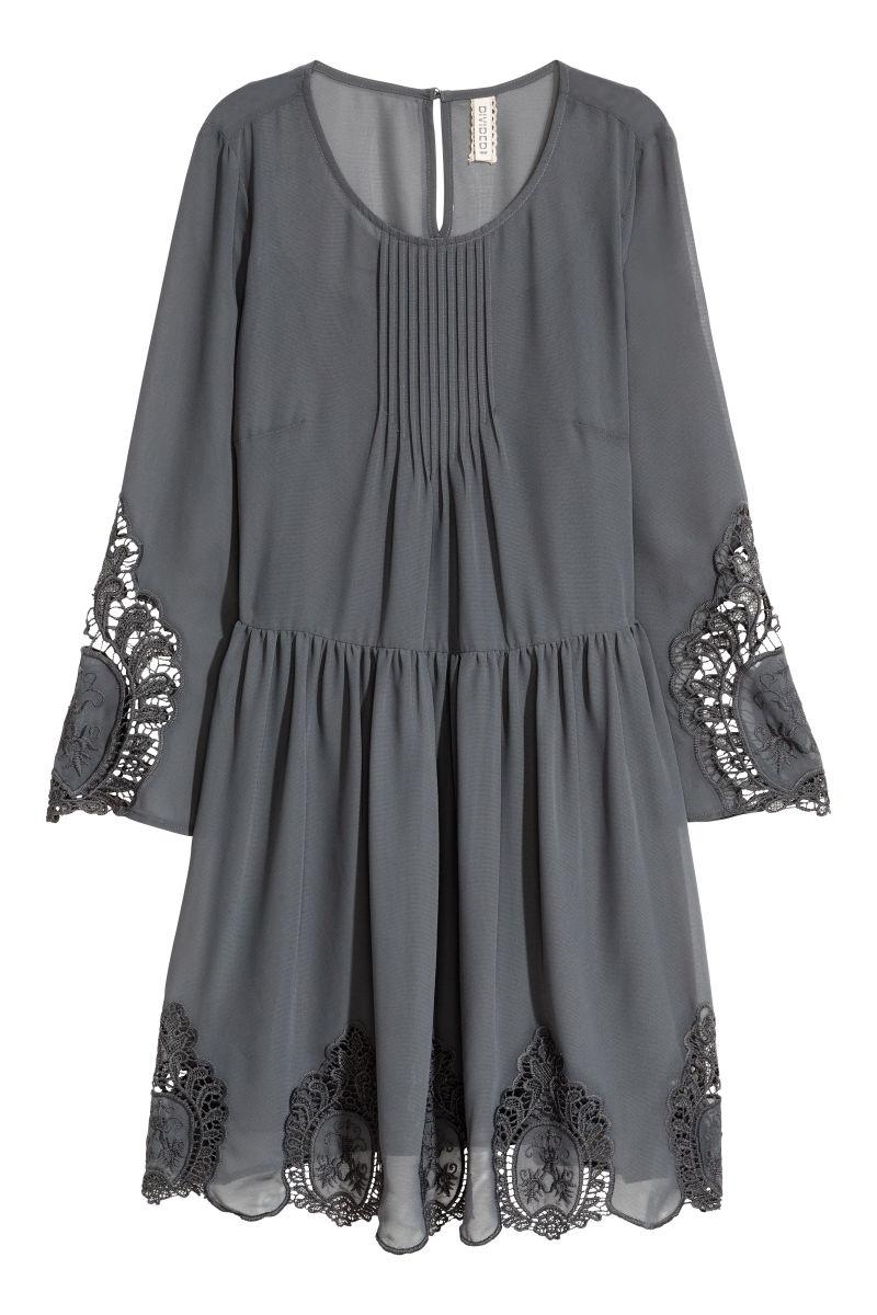 Kleid Mit Lochstickereien Dunkelgrau Sale H M De