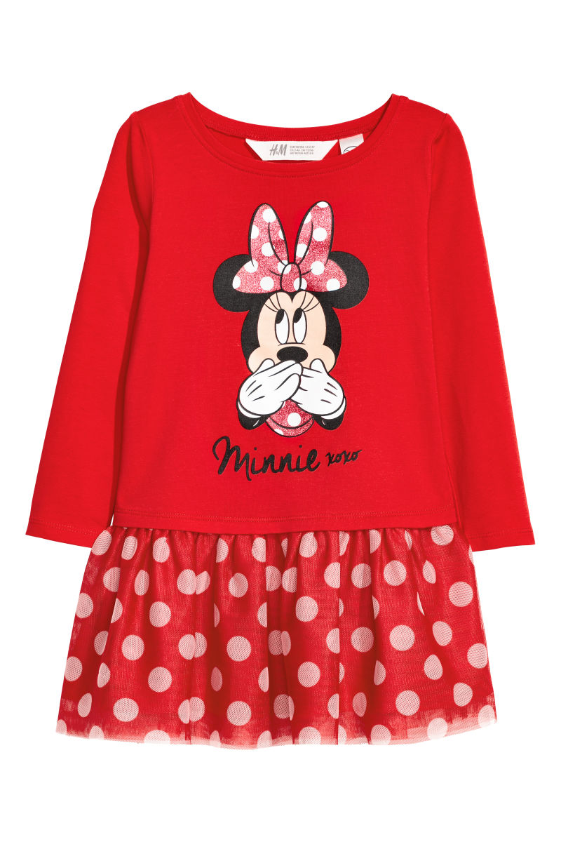 Kleid mit Tüllrock | Rot/Minnie Maus | SALE | H&M DE