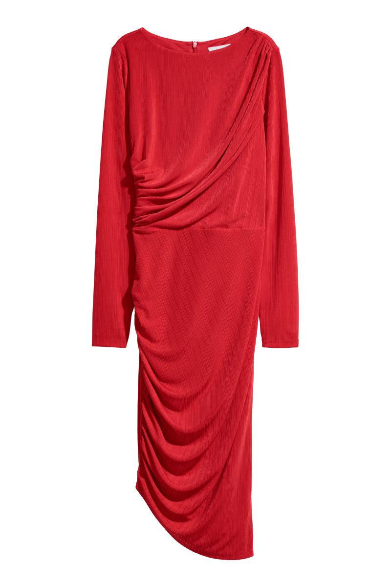 Drapiertes Kleid Knallrot Sale H M De