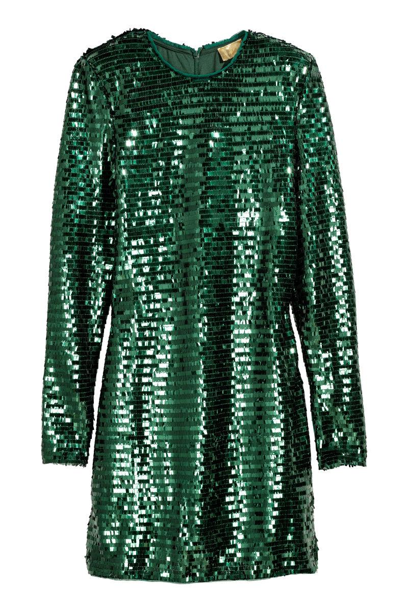 Paillettenkleid | Smaragdgrün | SALE | H&M DE