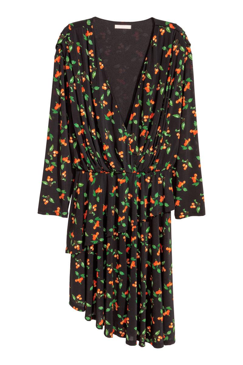 Kleid mit V-Ausschnitt | Schwarz/Kirschen | SALE | H&M DE