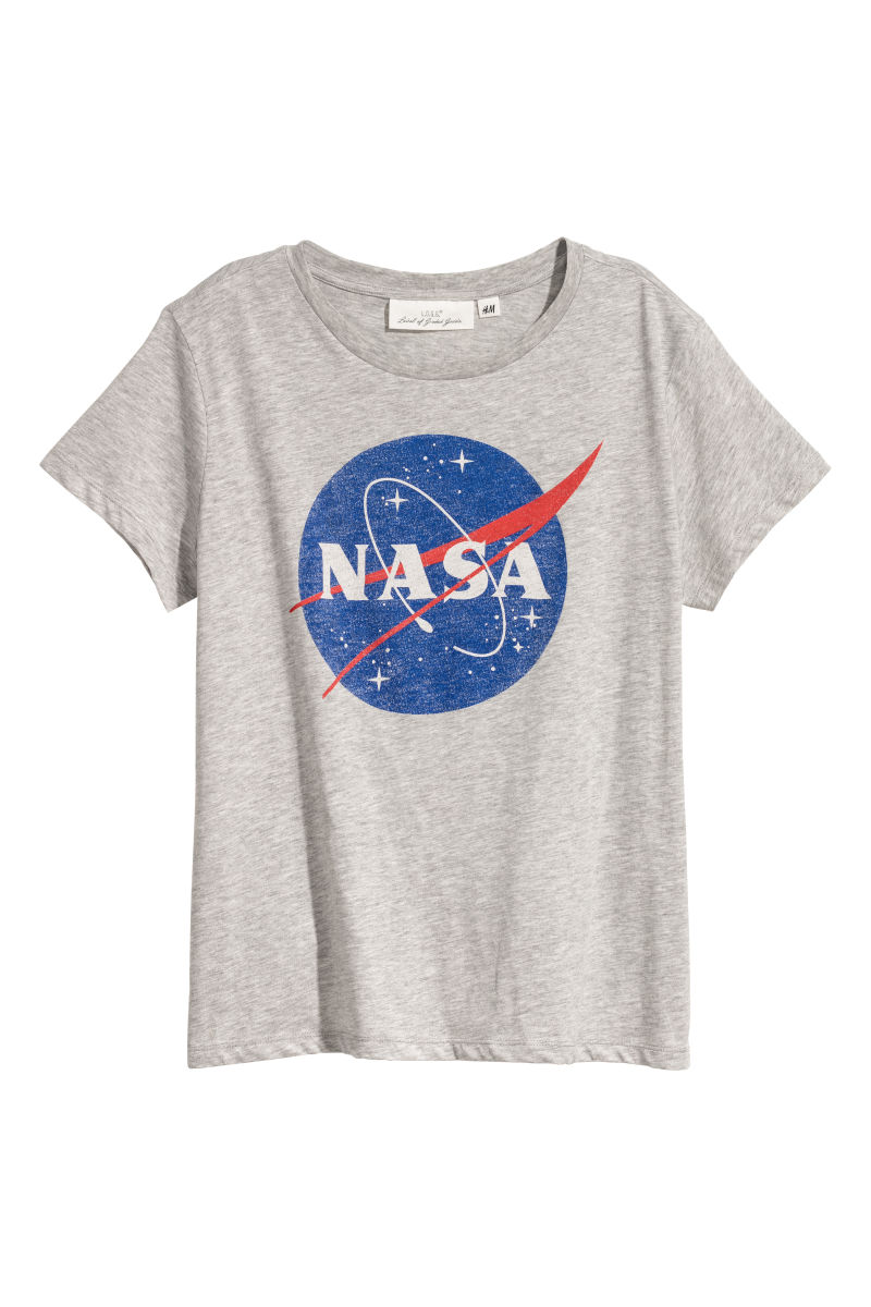T-Shirt mit Druck   Hellgrau/NASA   DAMEN   H&M DE
