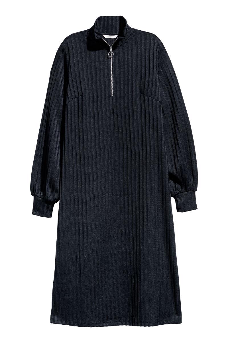 Geripptes Kleid Dunkelblau Sale H M De