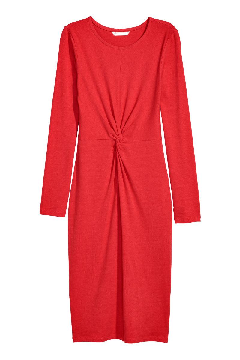 Kleid Mit Knotendetail Rot Sale H M De