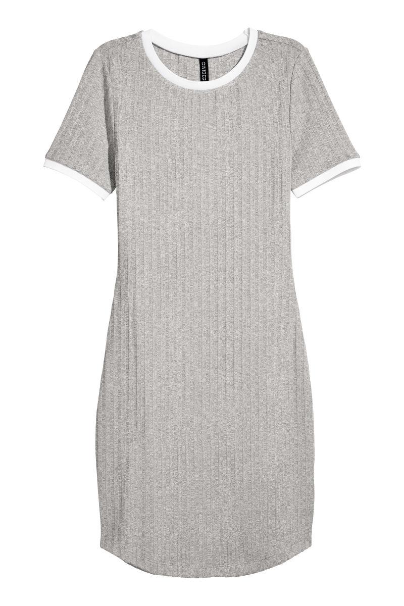 Geripptes Kleid Hellgraumeliert Weiss Sale H M De